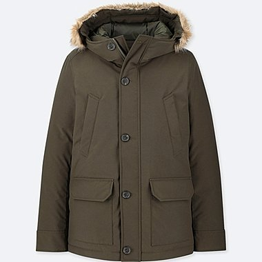 MEN NON-QUILTED HOODED DOWN JACKET