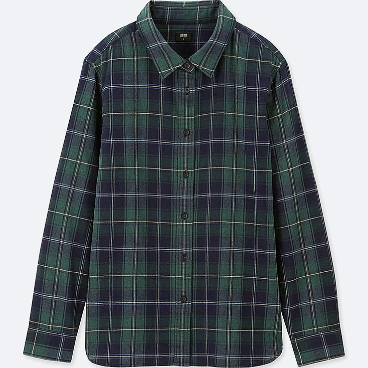 WOMEN FLANNEL CHECKED LONG-SLEEVE SHIRT, DARK GREEN, large