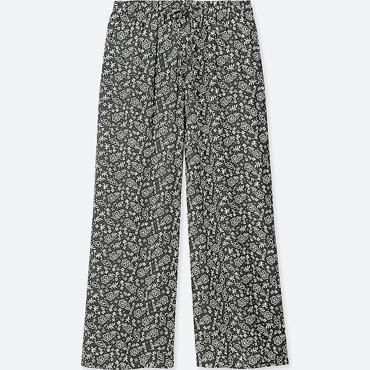 WOMEN FLORAL-PRINT DRAPE WIDE PANTS, DARK GREEN, large