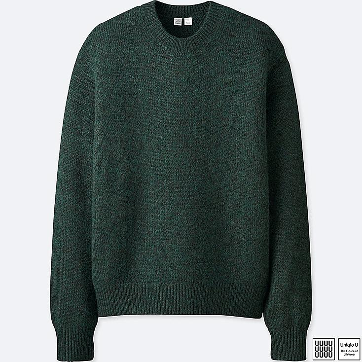 MEN U MELANGE CREW NECK LONG-SLEEVE SWEATER, DARK GREEN, large