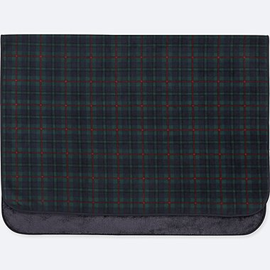FLEECE CHECKED LARGE BLANKET, DARK GREEN, medium