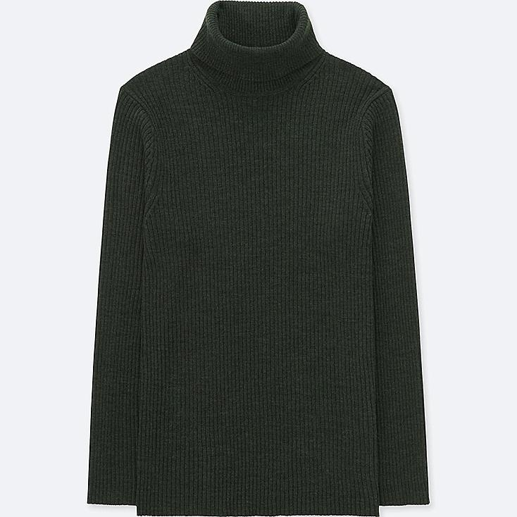 MEN RIBBED TURTLENECK LONG-SLEEVE SWEATER (ONLINE EXCLUSIVE), DARK GREEN, large