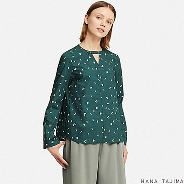 WOMEN FLARE PRINTED LONG-SLEEVE BLOUSE (HANA TAJIMA), DARK GREEN, medium