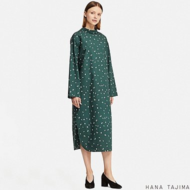 WOMEN MOCK NECK PRINTED LONG-SLEEVE DRESS (HANA TAJIMA), DARK GREEN, medium