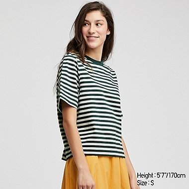 WOMEN STRIPED CREW NECK CROPPED SHORT SLEEVED T-SHIRT