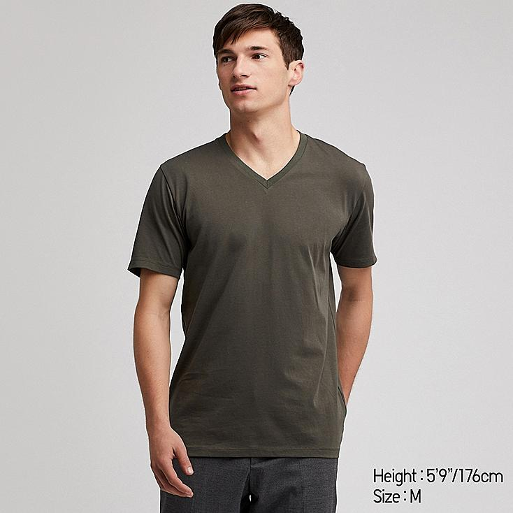 MEN SUPIMA® COTTON V-NECK SHORT-SLEEVE T-SHIRT, DARK GREEN, large