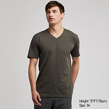MEN SUPIMA® COTTON V-NECK SHORT-SLEEVE T-SHIRT, DARK GREEN, medium
