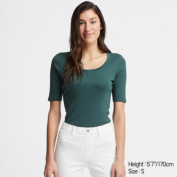 WOMEN RIBBED U-NECK HALF-SLEEVE T-SHIRT, DARK GREEN, large