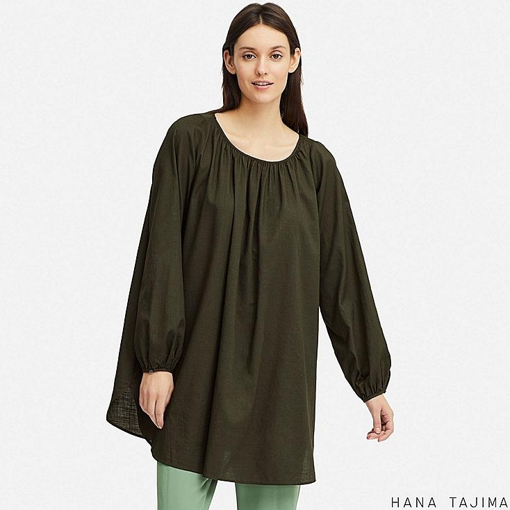 WOMEN GATHERED LONG-SLEEVE TUNIC (HANA TAJIMA), DARK GREEN, large