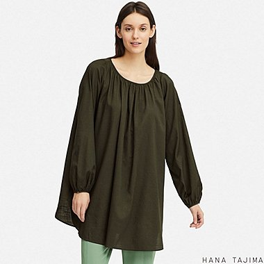 WOMEN GATHERED LONG-SLEEVE TUNIC (HANA TAJIMA), DARK GREEN, medium