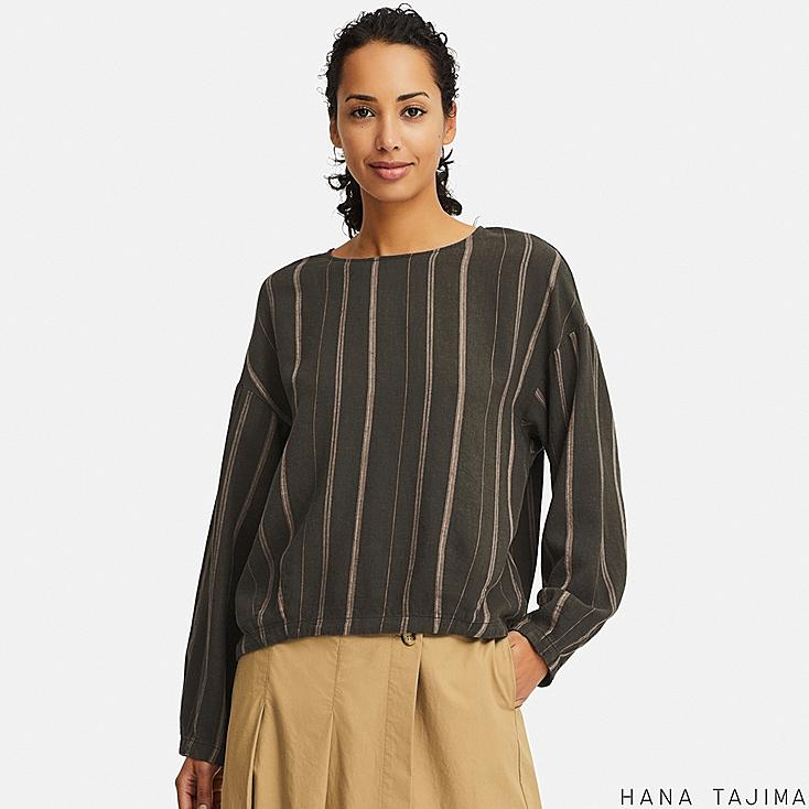 women linen blend long-sleeve blouse