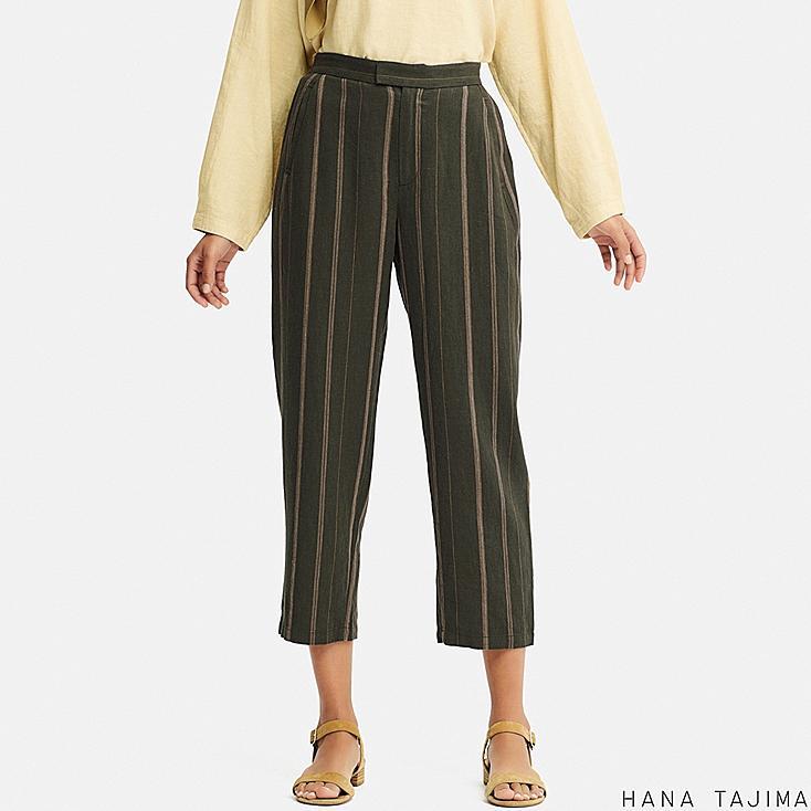women linen blended relaxed ankle pants