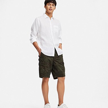 MEN CARGO SHORTS (ONLINE EXCLUSIVE), DARK GREEN, medium
