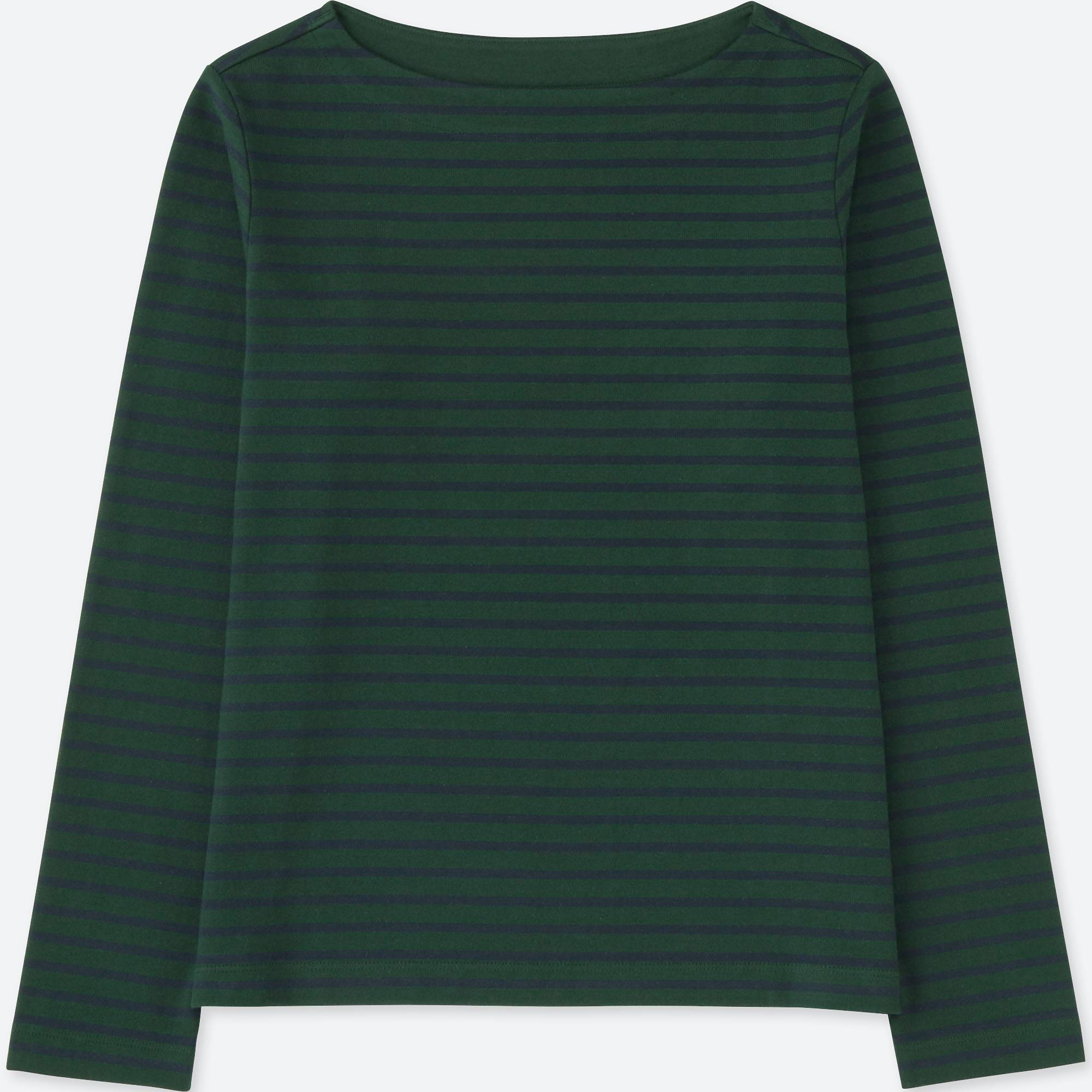 WOMEN STRIPED BOAT NECK LONG SLEEVE T | UNIQLO US