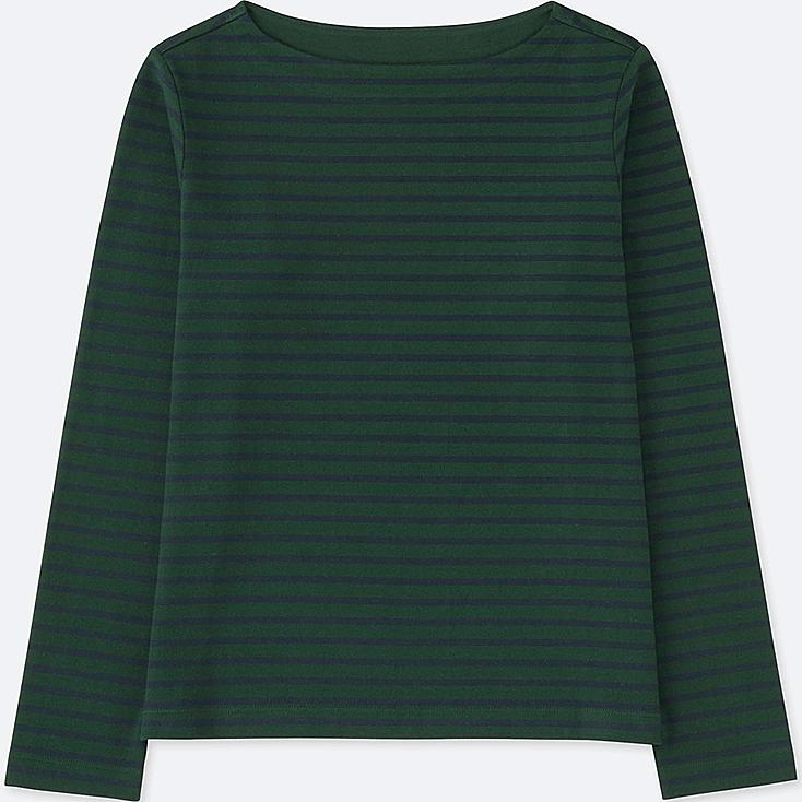 WOMEN STRIPED BOAT NECK LONG SLEEVE T, DARK GREEN, large