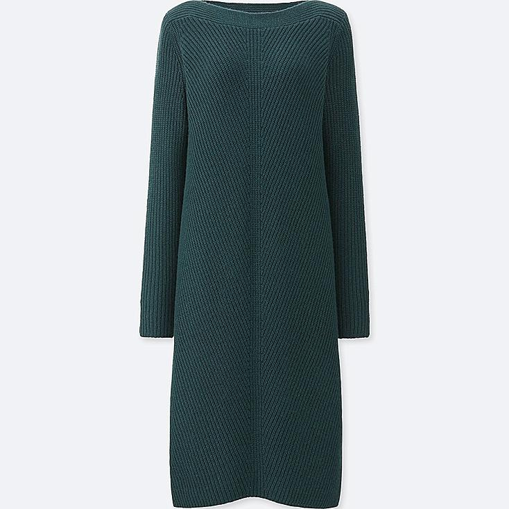 WOMEN MIDDLE GAUGE KNIT A-LINE DRESS, DARK GREEN, large