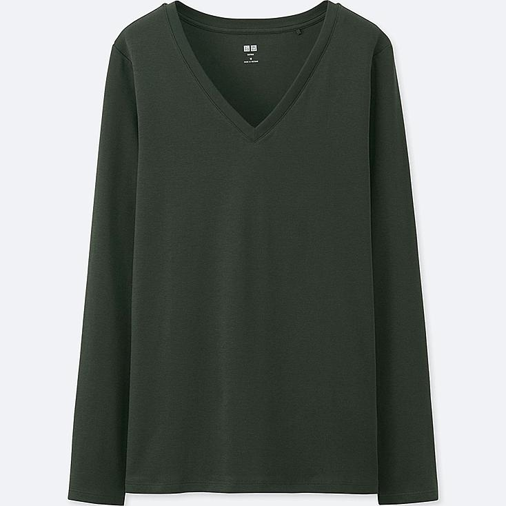Lovely Women Supima® Cotton V Neck Long Sleeve T-Shirt | UNIQLO US CE03