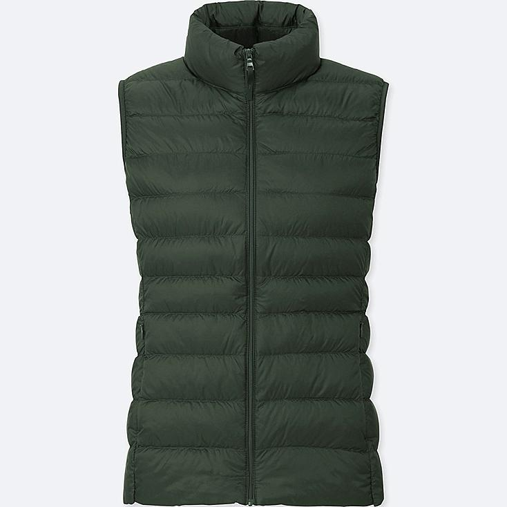 Women Ultra Light Down Vest, DARK GREEN, large