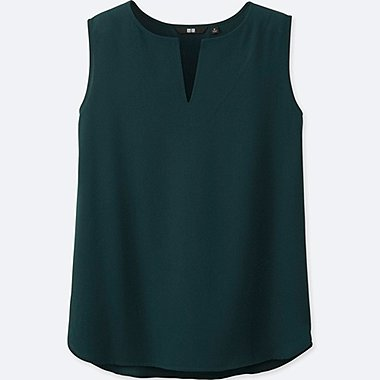 WOMEN Easy Care SILK TOUCH SLIT NECK SLEEVELESS BLOUSE