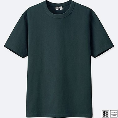 MEN U CREWNECK SHORT-SLEEVE T-SHIRT, DARK GREEN, medium