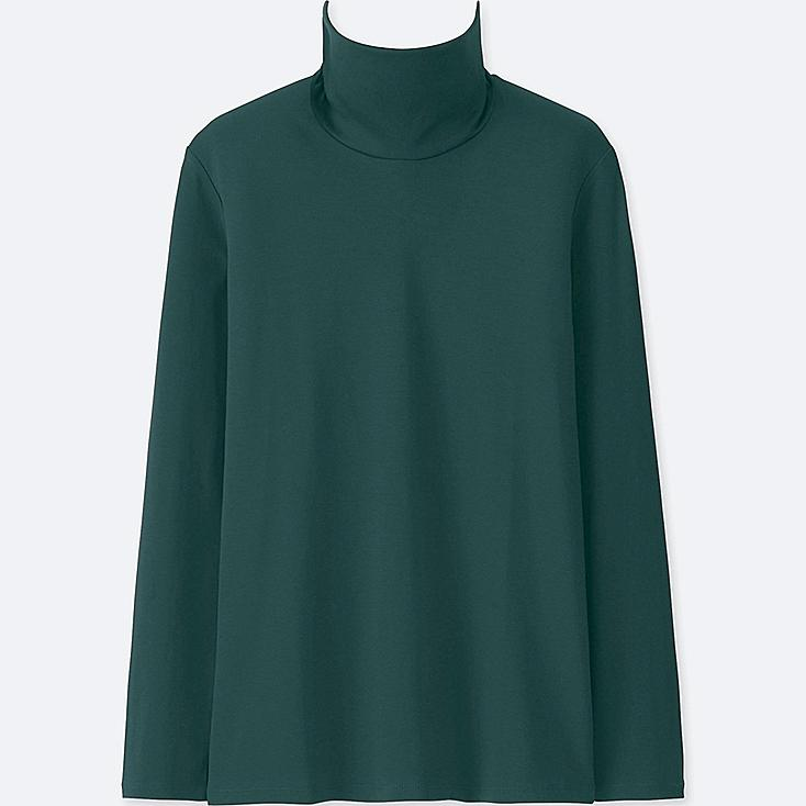 WOMEN COMPACT COTTON TURTLENECK LONG-SLEEVE T-SHIRT, DARK GREEN, large