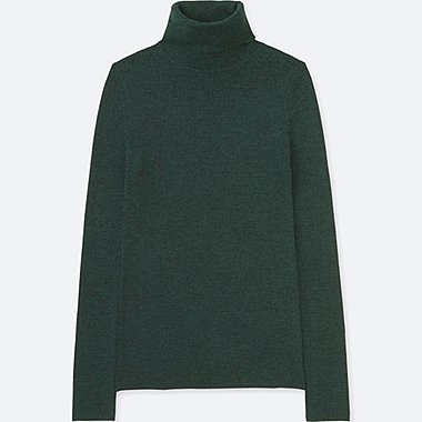 WOMEN EXTRA FINE MERINO RIBBED TURTLENECK JUMPER