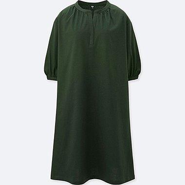 WOMEN MERCERIZED COTTON GATHERED 3/4 SLEEVE DRESS, DARK GREEN, medium
