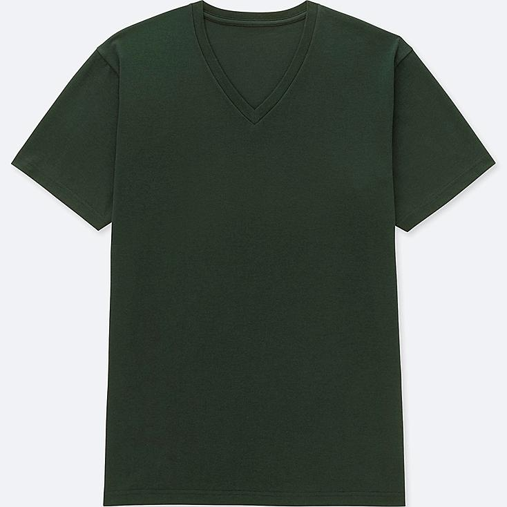 MEN PACKAGED DRY V-NECK SHORT-SLEEVE T-SHIRT, DARK GREEN, large