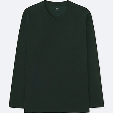 MEN SOFT TOUCH CREWNECK LONG-SLEEVE T-SHIRT, DARK GREEN, medium