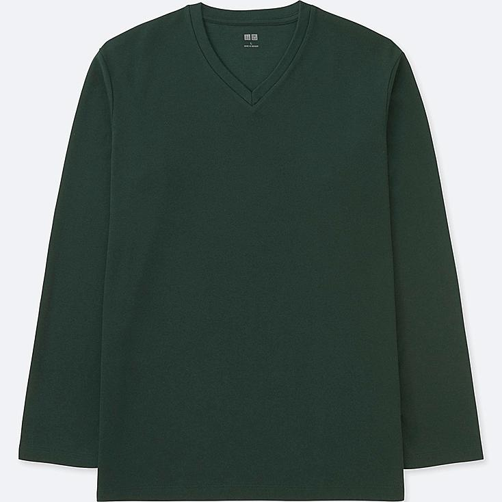 MEN SOFT TOUCH V-NECK LONG-SLEEVE T-SHIRT, DARK GREEN, large