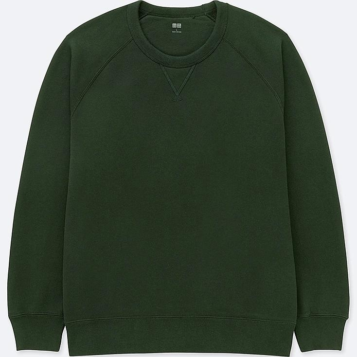 MEN LONG-SLEEVE SWEATSHIRT, DARK GREEN, large