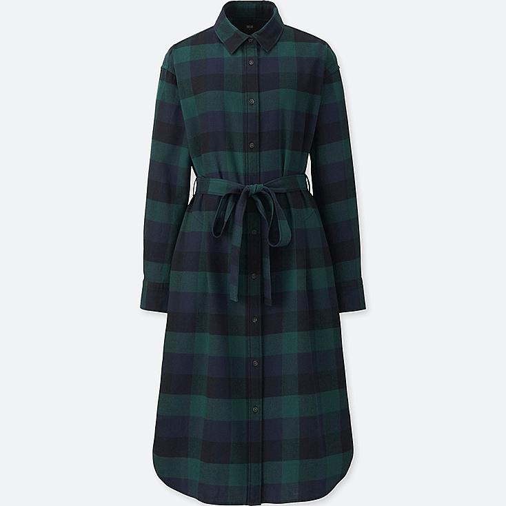 WOMEN FLANNEL LONG-SLEEVE SHIRT DRESS, DARK GREEN, large
