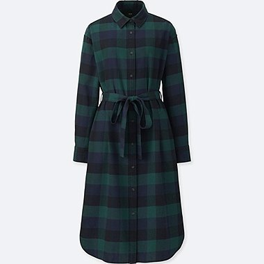 WOMEN FLANNEL LONG-SLEEVE SHIRT DRESS, DARK GREEN, medium