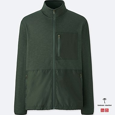 MEN AIRism STAND COLLAR JACKET, DARK GREEN, medium