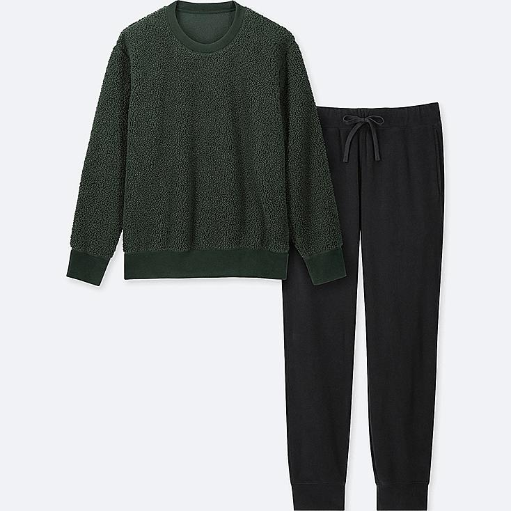 MEN FAUX SHEARLING LONG-SLEEVE FLEECE SET, DARK GREEN, large