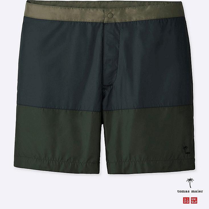 MEN SWIM SHORTS, DARK GREEN, large