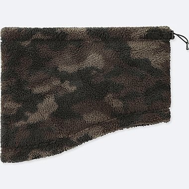 HEATTECH FURRY FLEECE NECK WARMER, DARK GREEN, medium