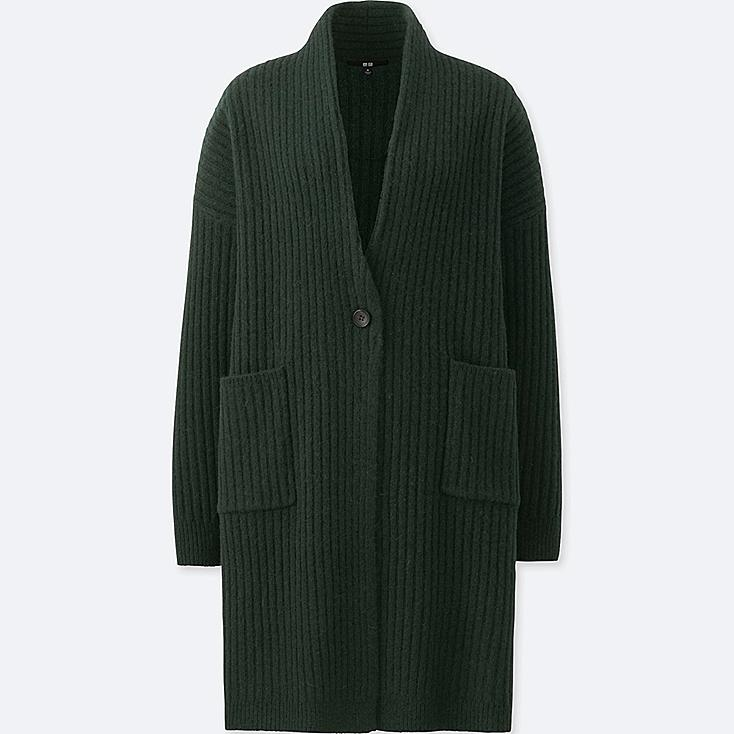 WOMEN WOOL RIBBED KNITTED COAT, DARK GREEN, large