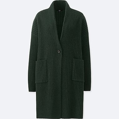 WOMEN WOOL RIBBED KNITTED COAT