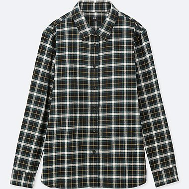 WOMEN FLANNEL CHECKED LONG-SLEEVE SHIRT, DARK GREEN, medium