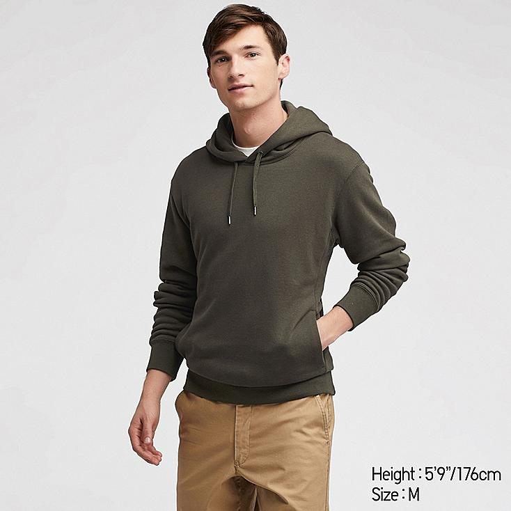 MEN LONG-SLEEVE HOODED SWEATSHIRT, DARK GREEN, large
