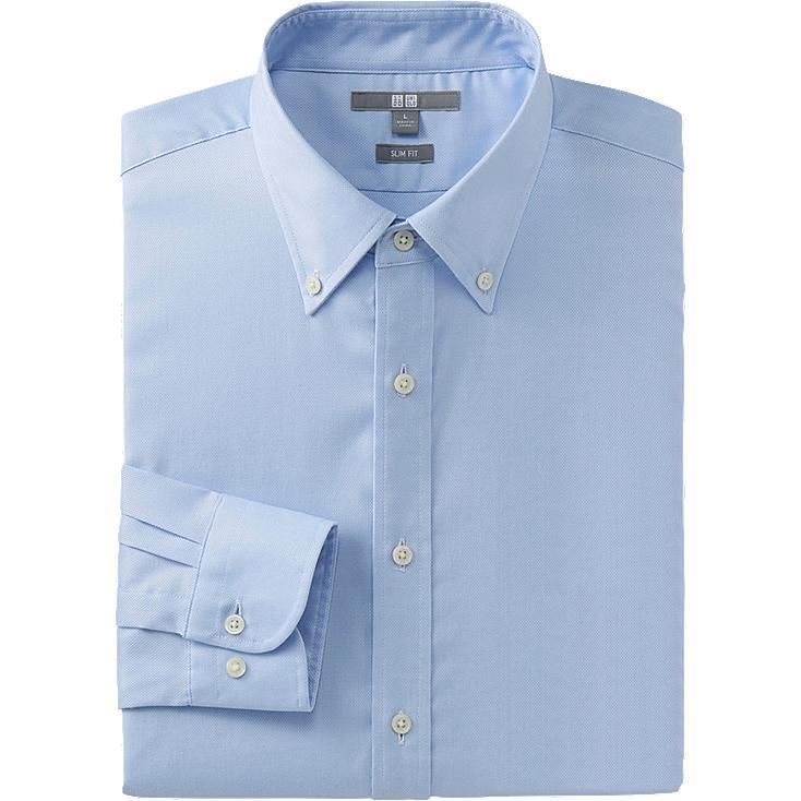MEN EASY CARE STRETCH SLIM FIT OXFORD LONG SLEEVE SHIRT, LIGHT BLUE, large