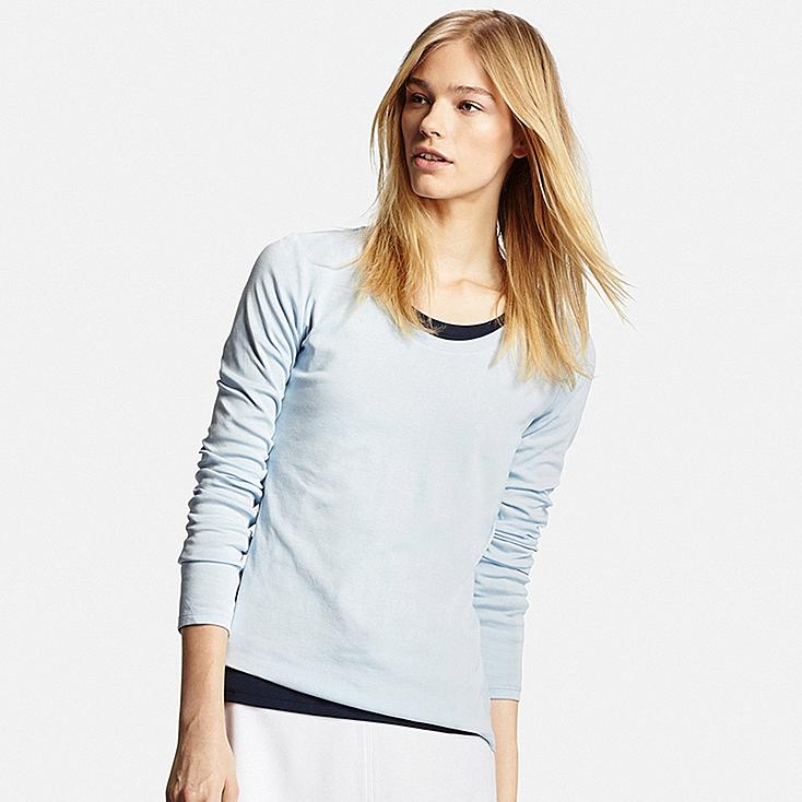 Women's Supima® Cotton Crewneck Long Sleeve T-Shirt | UNIQLO US