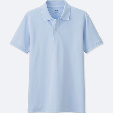 Men DRY PIQUE SHORT SLEEVE POLO SHIRT, LIGHT BLUE, medium