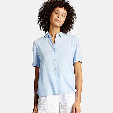 Womens Short Sleeve Blouse, LIGHT BLUE, medium