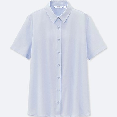 WOMEN RAYON SHORT SLEEVE BLOUSE, LIGHT BLUE, medium