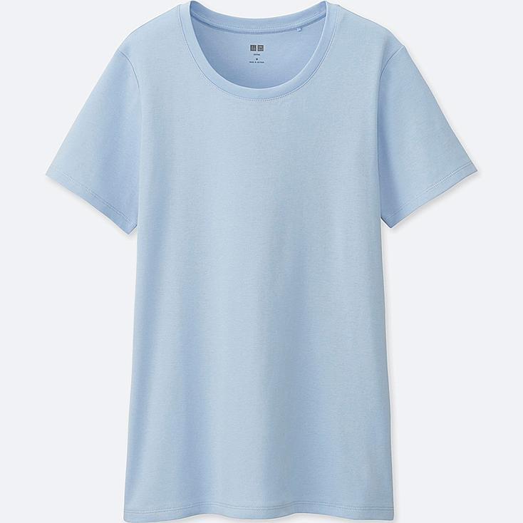 WOMEN Supima® COTTON CREWNECK SHORT-SLEEVE T-SHIRT, LIGHT BLUE, large