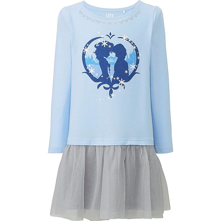 GIRLS DISNEY COLLECTION LONG SLEEVE TULLE DRESS, LIGHT BLUE, large