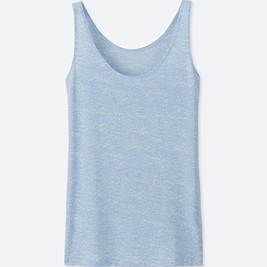WOMEN AIRism SLEEVELESS TOP (HEATHER), LIGHT BLUE, medium