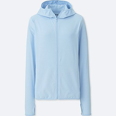 WOMEN AIRism UV CUT MESH FULL-ZIP HOODIE, LIGHT BLUE, medium